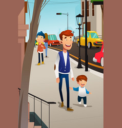 father and son walking on the street vector image
