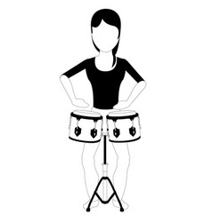 female avatar playing the drums vector image