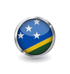 flag of solomon islands button with metal frame vector image