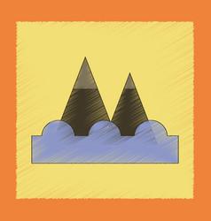 Flat shading style icon tsunami mountains vector