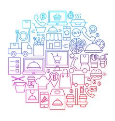 food delivery line icon circle design vector image