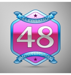 Forty eight years anniversary celebration silver vector