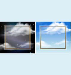 frame template with sky at day and night vector image