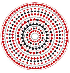Gambling poker round mandala with red and black vector