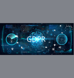 gdpr concept futuristic interface vector image