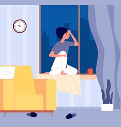 girl sitting window sill depression sad woman in vector image