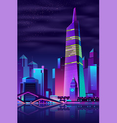 glowing tower on river big city vector image