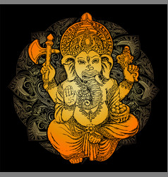 golden lord ganesha vector image