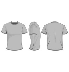 Gray t-shirt template in front side and back views vector