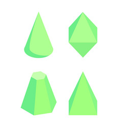 green isolated prisms set on white background vector image