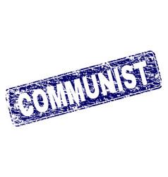 Grunge communist framed rounded rectangle stamp vector