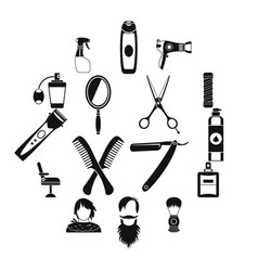 hairdressing icons set simple style vector image