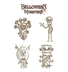 Halloween monsters scary sketch style cartoons set vector