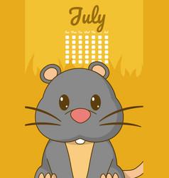 Hamster cute calendar cartoon vector