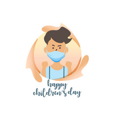 Happy children day with flat mask boy on circle vector