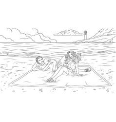 happy couple on beach vector image