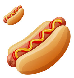 hot dog detailed icon isolated on white vector image