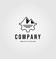 industry company gear logo with mountain symbol vector image