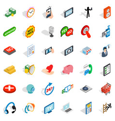 information icons set isometric style vector image