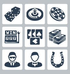 isolated casino and gambling icons set vector image