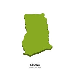 Isometric map of Ghana detailed vector