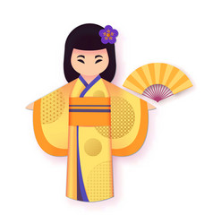 japanese woman in traditional clothing kimono vector image