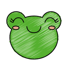 Kawaii frog icon vector