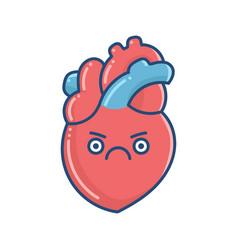 Kawaii grumpy human heart vector
