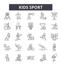 kids sport line icons signs set outline vector image