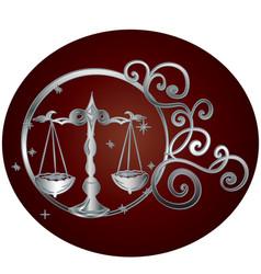 Libra zodiac sign in circle frame vector