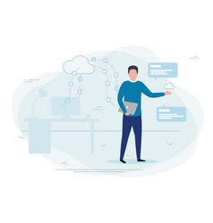man working cloud technologies vector image