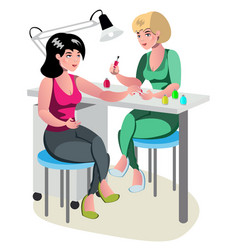 manicurist character makes a professional manicure vector image