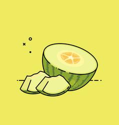 melon open by half vector image