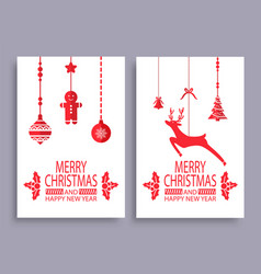 merry christmas and happy new year colorful poster vector image