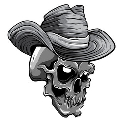 monochromatic cowboy skull vector image
