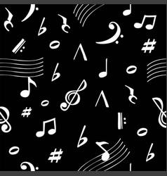 musical notes pattern retro sound dark background vector image