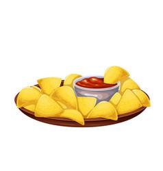 nachos icon traditional mexican food vector image