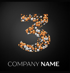 number three logo gold-silver dots vector image