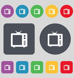 Old TV Television icon sign A set of 12 colored vector image