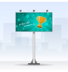Outdoor billboard with winners cup vector image