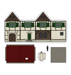 Paper model of an old half timbered house vector