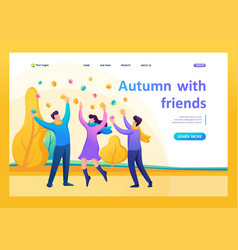 People have fun in autumn park flat 2d vector