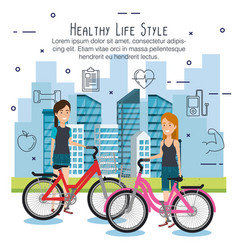 People in bicycle with healthy lifestyle icons vector