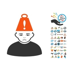 Person Heavy Stress Icon with 2017 Year Bonus vector image