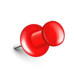 Realistic red push pin board tack isolated on vector