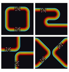 retro square dots background set vector image