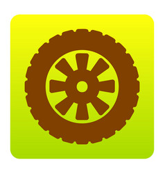 Road tire sign brown icon at green-yellow vector