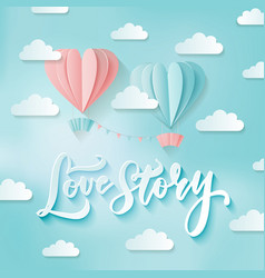 romance two heart shaped hot air balloons in the vector image
