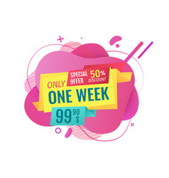 Sales only one week promotion price on banner vector