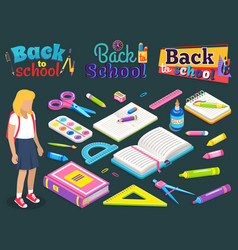 School chancery office accessory supplies vector